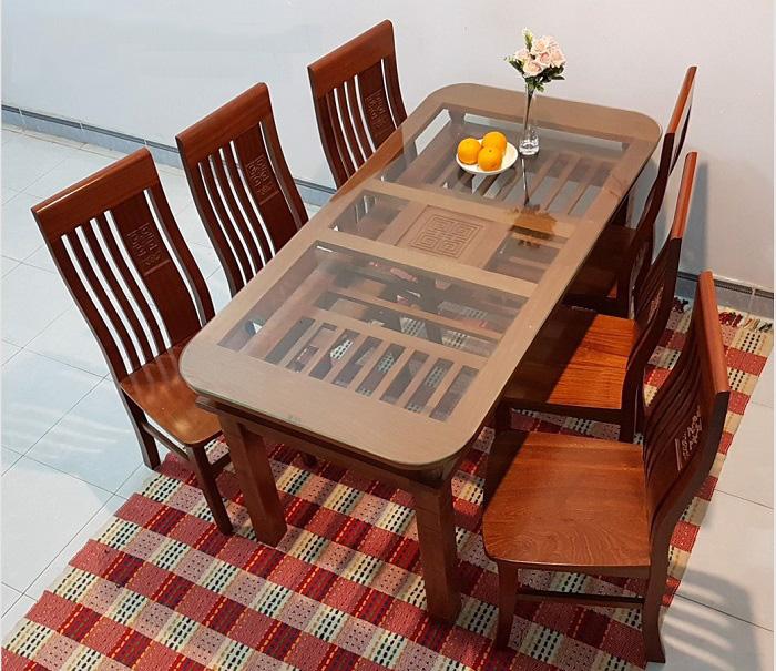 Bộ bàn ăn 6 ghế gỗ sồi giá bao nhiêu?-8