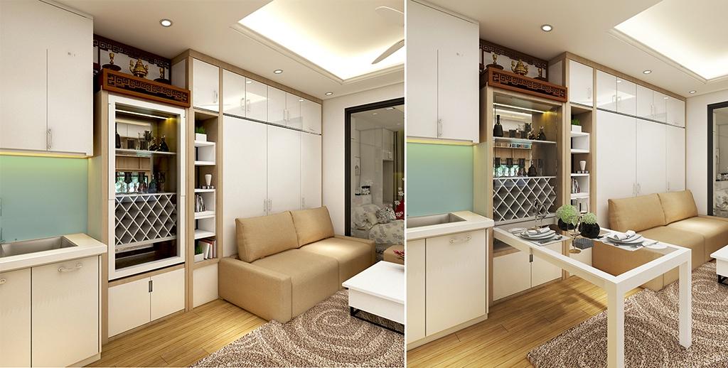 Bàn ăn gắn tường là mẫu bàn nội thất được gắn cố định tại một vị trí hay góc tường nào đó với thiết kế nhỏ gọn