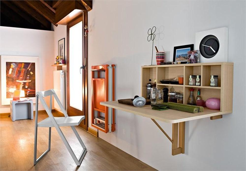 Bàn gắn tường trực tiếp hay bàn treo tường phù hợp với những nhà ít người.