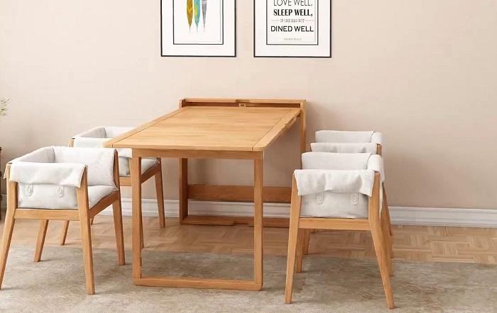 Bộ bàn ăn gỗ xếp gọn thích hợp cho các căn hộ chung cư