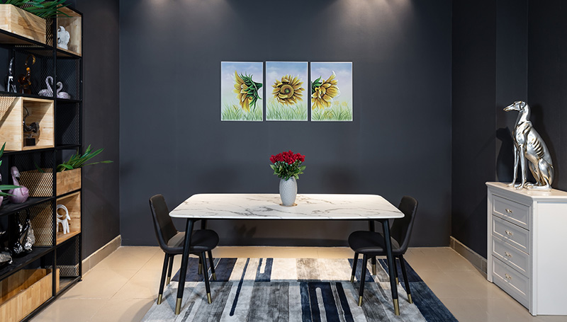 Bộ bàn ăn 6 ghế mặt đá đẹp.