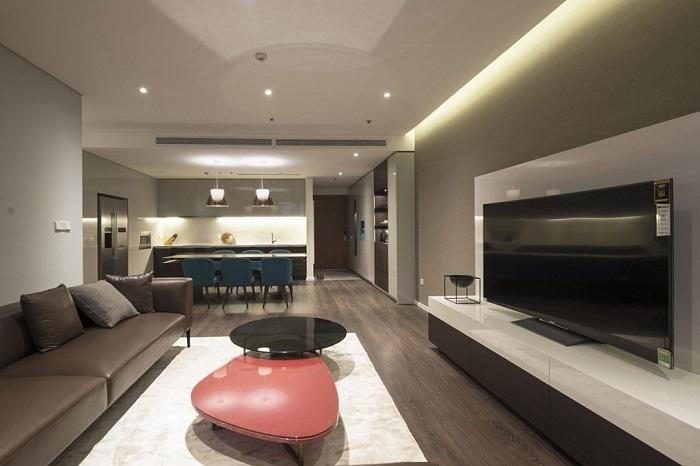 Thiết kế phòng khách liền bếp đẹp thanh lịch