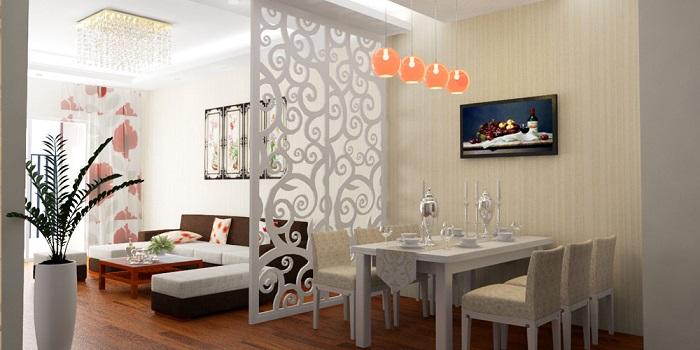 Ngăn phòng bếp và phòng khách bằng vách hoa văn xuyên thấu