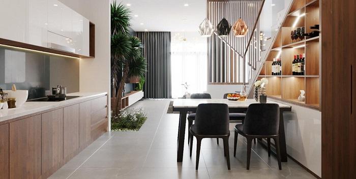 Thiết kế bếp liền phòng khách đem lại hiệu ứng mở rộng tầm mắt