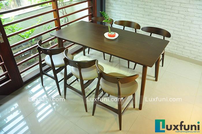 Bộ bàn ăn 6 ghế gỗ tự nhiên Bắc Âu Lunar