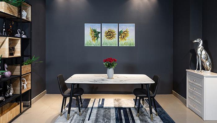 Bộ bàn ăn 6 ghế mặt đá phù hợp với căn hộ chung cư
