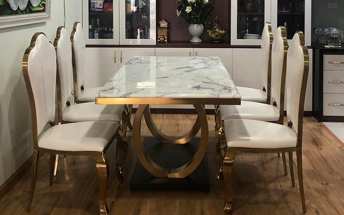 Bộ bàn ăn 6 ghế giá rẻ bằng đá nhân tạo