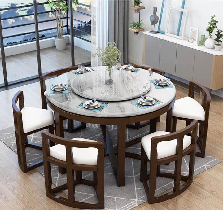 bàn ăn tròn mặt đá dấu ghế